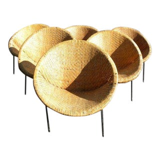 Vintage Mid Century Cal-Tiki Rattan Wicker Hoop Chairs- Set of 6 For Sale