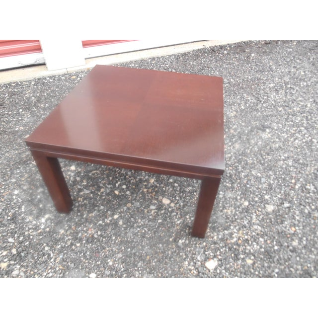 Wood Mid-Century Modern Henredon Parquet Wood Floating Top Dark Expresso Coffee Table For Sale - Image 7 of 7