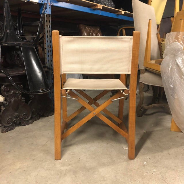 Foldable Teak Directors Chair For Sale - Image 4 of 11