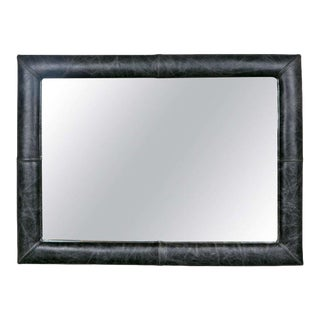 Mid-Century Wall Mirror Decorated Distressed Leather Upholstered Frame For Sale