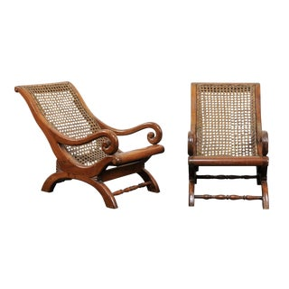 Pair of French 19th Century English Children's Chairs With Cane Backs and Seats For Sale