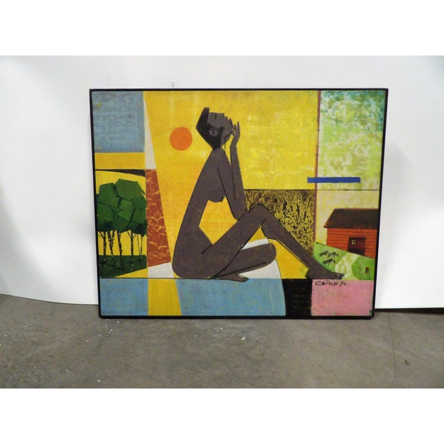 Mid Century Ceike Original Painting, Signed & Perfect Oil on Board For Sale In West Palm - Image 6 of 6