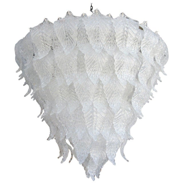 1960s Murano Glass Leaf Chandelier in the Style of Seguso For Sale In Los Angeles - Image 6 of 6