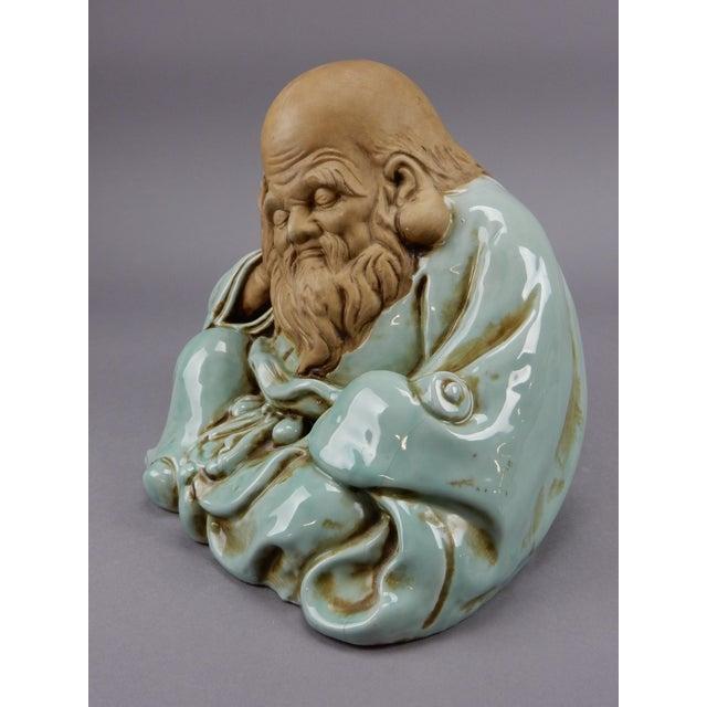 Incredible Japanese Kutani Celadon Glazed Fukurokuju Statue For Sale - Image 10 of 13