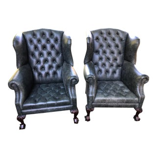 Vintage Green Leather Button Down Wingback Chairs - a Pair For Sale