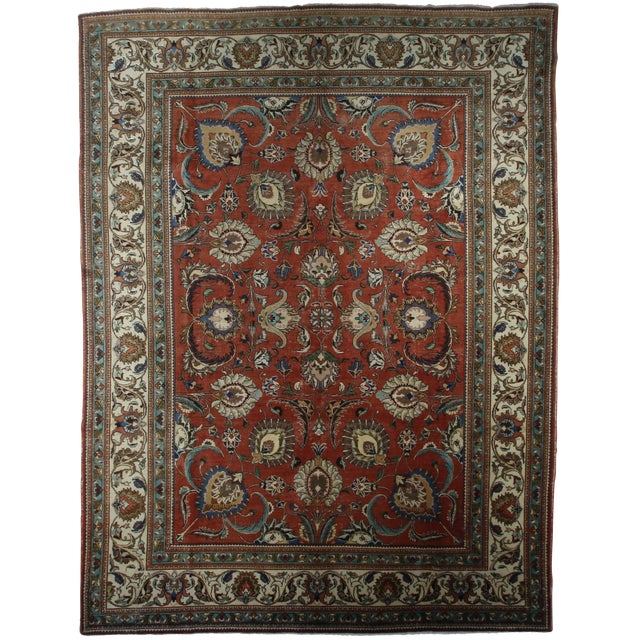 Late 20th Century Hand-Knotted Wool Persian Tabriz Rug - 11′ × 14′5″ For Sale
