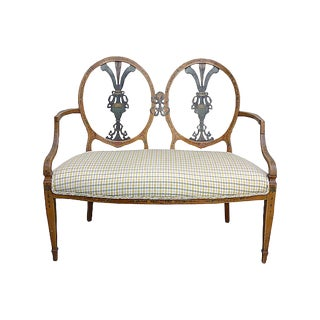 19th Century Antique Handpainted Double Medallion Back Settee For Sale