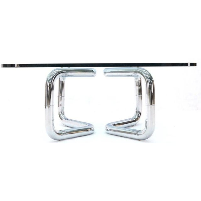 Rounded Corners Square Coffee Table on Thick Bent Tube Chrome Base For Sale - Image 11 of 13