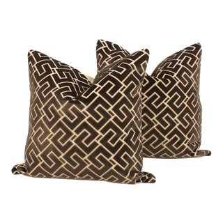 Mink Cut Velvet Geometric Pillows, a Pair For Sale