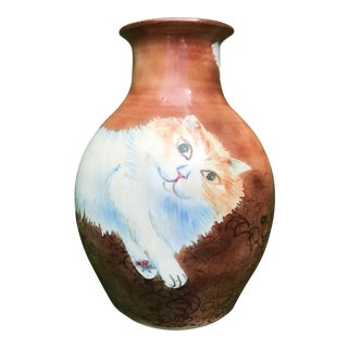 Vintage Large 1980's Hand Painted Long Haired Cat Vase Signed For Sale