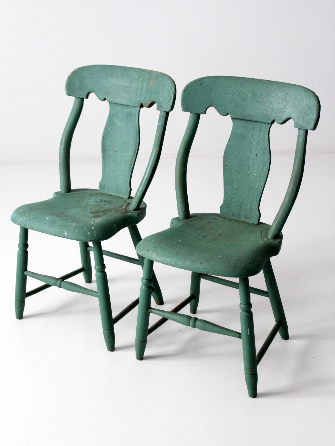 Antique Green Fiddle Back Chairs   Set Of 2 For Sale   Image 5 Of 9