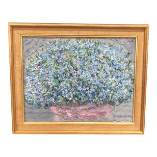 1950s Vintage Jessie Drew Bear Study of Blue Flowers Framed Acrylic on Canvas Painting