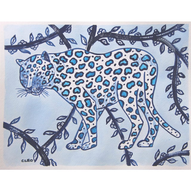 A wild white leopard in shades of indigo blue and sky blue, inspired by Chinese paintings, on a mottled botanical...