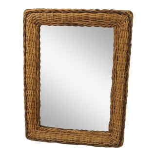 Vintage Large Rectangular Bamboo Mirror With Rounded Corners For Sale