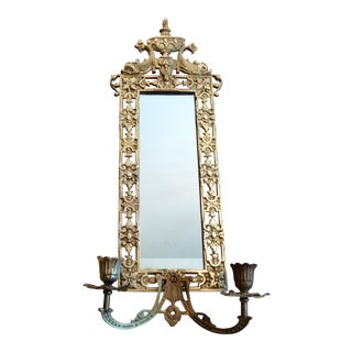 Antique Brass Mirrored Sconce For Sale