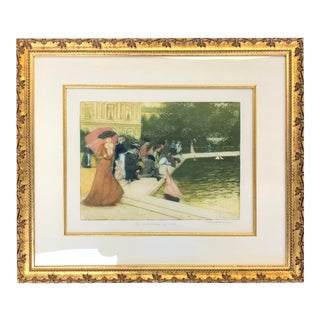 Impressionist Rene Lorrain Jardin Du Luxembourg Painting For Sale