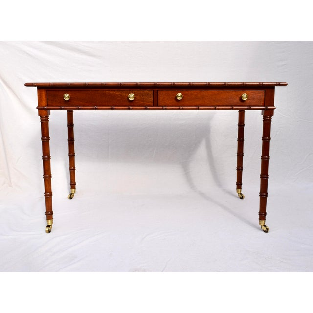 Regency Faux Bamboo Writing Desk For Sale - Image 11 of 11