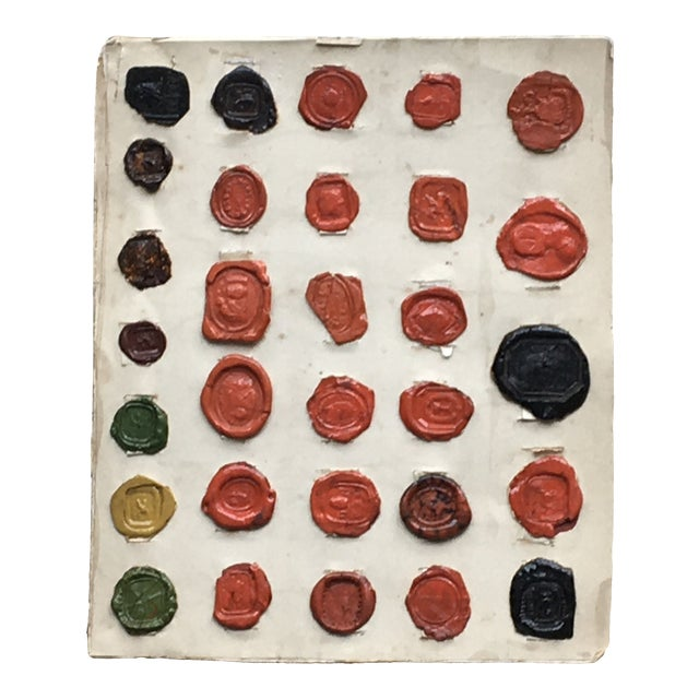 Antique English Multi Color Intaglio Wax Seals For Sale