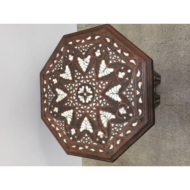 Metal Syrian Mother-Of-Pearl Inlaid Side Table For Sale - Image 7 of 13