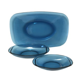 1960s Danish Modern Vereco Blue Glass Platter and Bowls - 3 Pieces For Sale