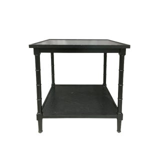 20th Century English Traditional Black Faux Bamboo Legged Side Table With Shelf For Sale
