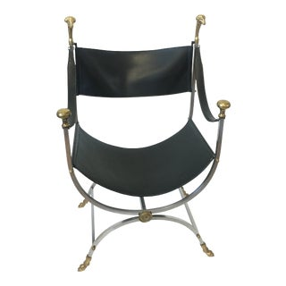Regency Maison Jensen Savonarola Chair in Black Leather and Steel For Sale
