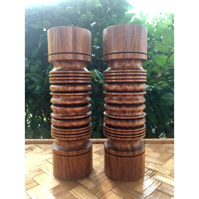 Mid-Century Modern Mid-Century Modern Turned Wood Candlesticks- a Pair For Sale - Image 3 of 9