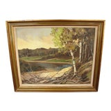 Image of 1950s Birch Trees Landscape Oil on Canvas Painting For Sale