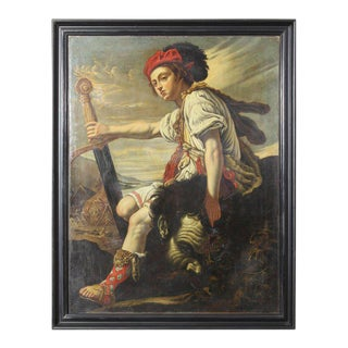 19th Century David With the Head of Goliath Oil Painting