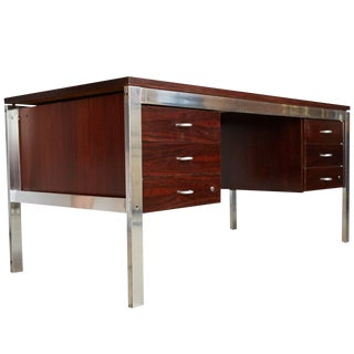 "1970s Rosewood and Aluminum ""Escriba"" Desk by Tora Brazil, Restored For Sale"