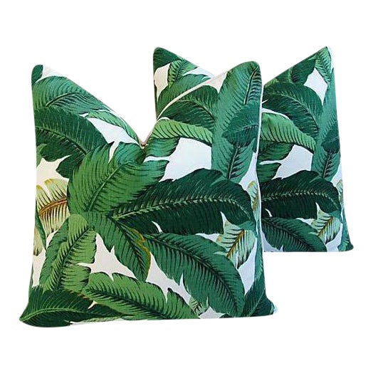 Banana Leaf Feather/Down Pillows - A Pair For Sale - Image 11 of 11
