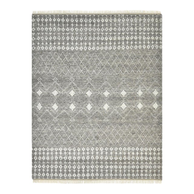 Vinay, Bohemian Moroccan Hand Knotted Area Rug, Gray, 5 X 8 For Sale