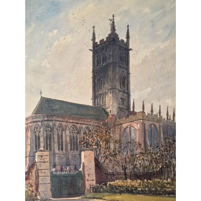 Blue English Church Watercolor Painting by Axel Haig For Sale - Image 8 of 8