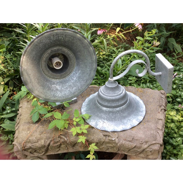 Vintage Smith and Hawken Galvanized Sconces - Pair - Image 6 of 8