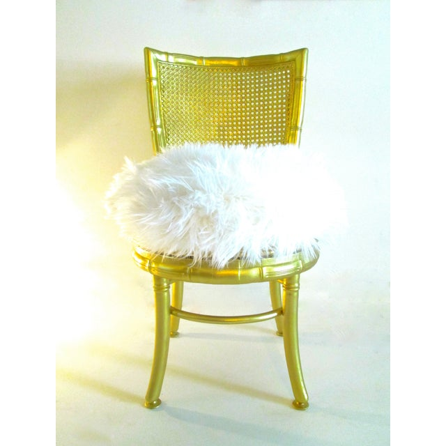 Gold Faux Bamboo & Fur Swivel Chair - Image 2 of 8