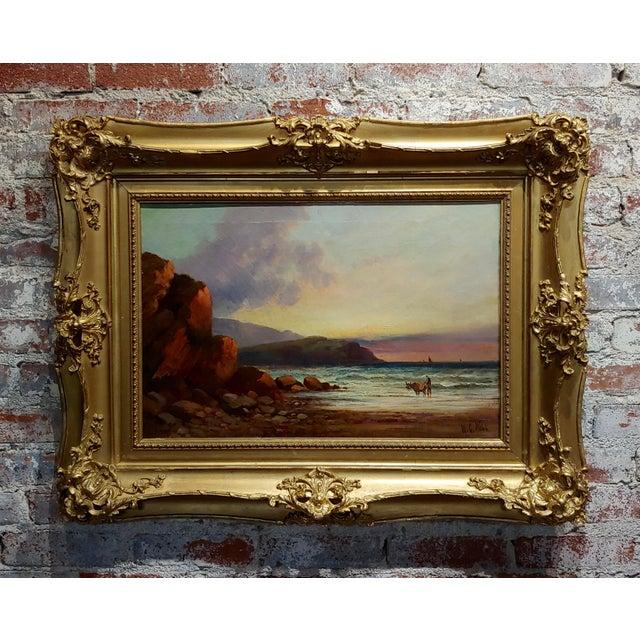 William Edward Webb - 19th Century Coastal Beach Scene -Oil Painting For Sale - Image 11 of 11