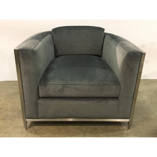 Stylish Caracole Modern Charcoal Velvet Ice Breaker Club Chair, silk nickel geometric design, showroom floor sample,...