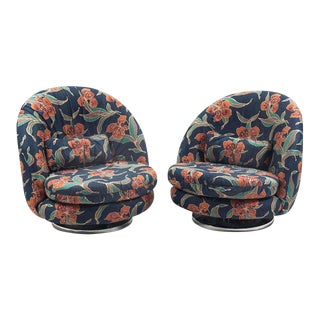 Pair of Milo Baughman for Thayer Coggin Floral Lounge Chairs, Signed For Sale