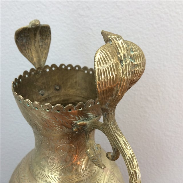 Vintage Brass Vase with Snake and Fish Handles For Sale - Image 5 of 11