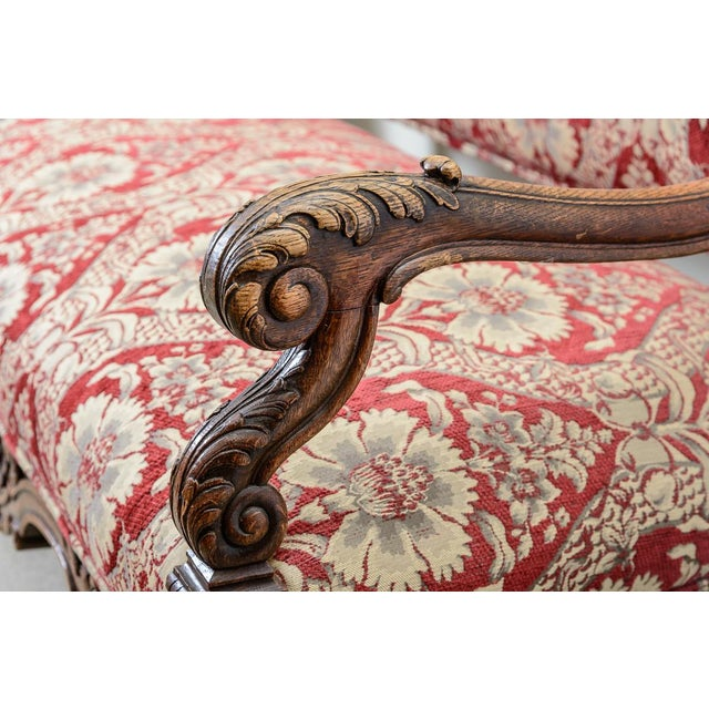 Large Upholstered Oak Settee For Sale In West Palm - Image 6 of 8