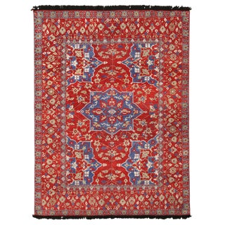Burano Red and Blue Wool Floral Rug-6'4'x8'3' For Sale