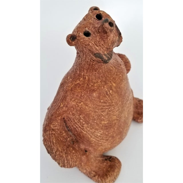 Abstract Vintage 1970s Danish Modern Studio Art Pottery Bear Sculpture- Signed For Sale - Image 3 of 13