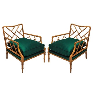 A Pair of American Faux Bamboo Cockpen Armchairs For Sale