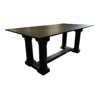 Custom Honed Slate Top Dining Table For Sale
