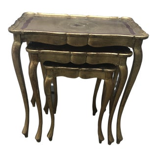 Italian Florentine Nesting Tables - Set of 3 For Sale