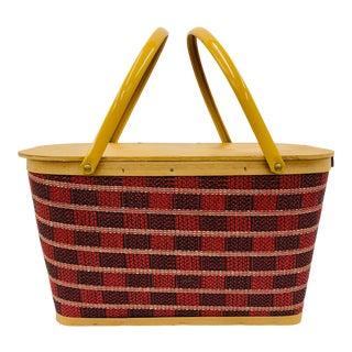 Vintage Mid-Century Retro Picnic Basket For Sale