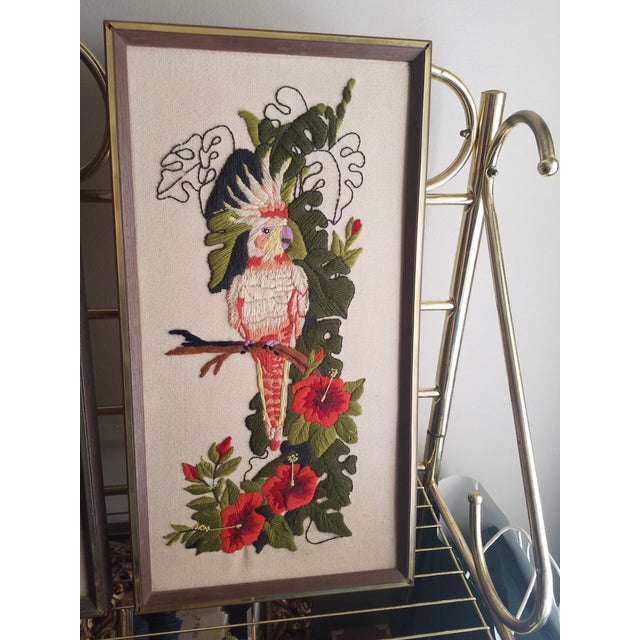 Vintage Crewel Embroidered Bird Artwork - A Pair - Image 5 of 5