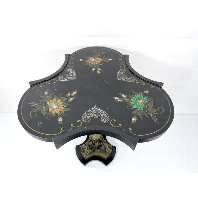Early 20th Century Antique Victorian Black Side Table With Brass Ormolu Column & Mother of Pearl Inlay Top For Sale - Image 5 of 9