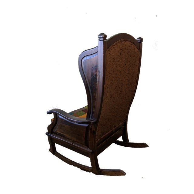 Mid-Century Modern Maxwell Royal Chair Company Upholstered Wingback Rocker For Sale - Image 3 of 8