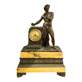 Antique French Figural Bronze and Marble Clock For Sale